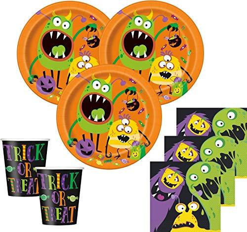 Kids Party World 48 Teile Halloween Deko Set kleine Monster 16 Personen