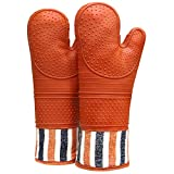 RED LMLDETA Heat Resistant 550 Degree Oven mitt, Silicone Oven Hot Mitts - 1 Pair, Extra Long Professional Baking Oven Gloves - Food Safe,Pot Holders Cooking,Grilling,Kitchen (Tangerine)