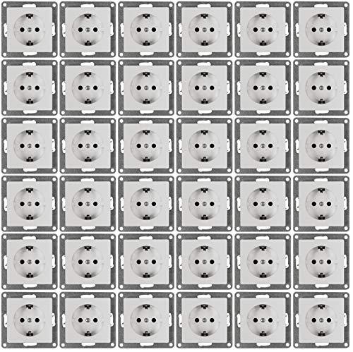 MC POWER - 36er Pack Steckdosen | CUP | weiß, poliert