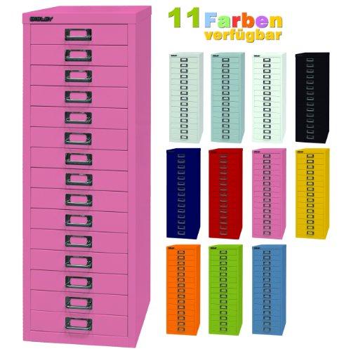 BISLEY ladekast 39 van metaal met 15 schuifladen, kast voor kantoor, werkplaats en thuis, stalen kast in 11 kleuren roze