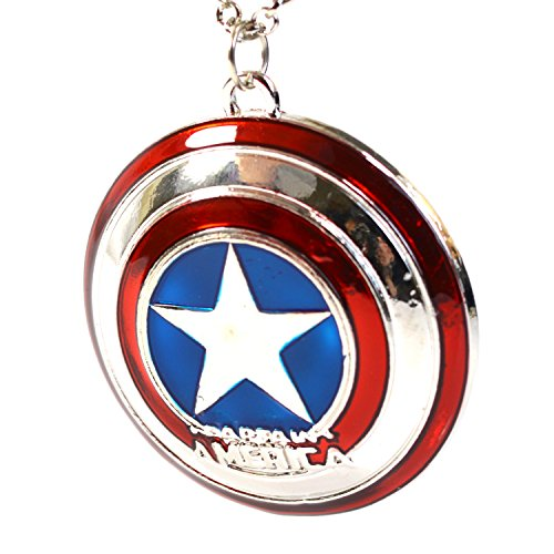Beaux Bijoux Marvel Captain America Star Shield Pendant - The Avengers Super Hero Cosplay Necklace - Avengers End Game Necklace