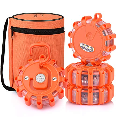 AK [4 Pack] LED Road Flares Safety Flashing Warning Light Roadside Emergency Disc Beacon Kit for Vehicles Boats with Magnetic Base & Hook, Premium Storage Bag (Batteries Not Included) (4)
