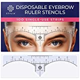 Disposable Eyebrow Ruler Stencils - Transparent Mapping Stickers for Microblading, Henna, Brow Extensions, Permanent Makeup - Peel & Stick Measuring Shaper Tool for All Face Shapes - 100-Pack