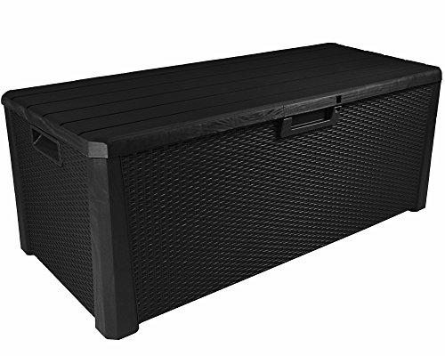 Ondis24 XXL Kissenbox Miami 560 Liter Auflagenbox Sitztruhe Kissentruhe Rattan & Holz Optik anthrazit