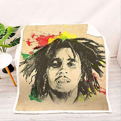 AZSOGOOD Manta de sofá 3D con Estampado de Bob Marley, Manta de Cama Suave y cómoda, Adecuada para Decorar Manta de Cama-H_150x200cm * 1