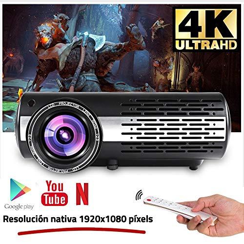Seelumen 6500 Lúmenes Proyector Full HD 1080P (1920 x 1080) Proyector Cine en Casa con Corrección Digital, Android 6.0, AC3, Compatible con Netflix, Kodi, Playstore, Bluetooth, WiFi 5G, 200