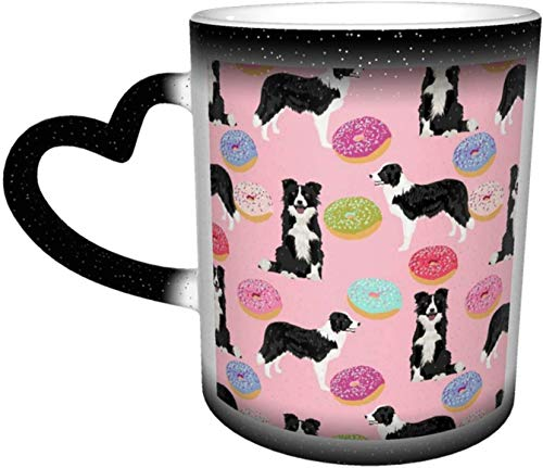 Cute Pink Donuts Best Dog Quilting Cute Border Collies Heat Sensitive Color Changing Mug in The Sky Coffee Mugs Ceramic Cup Personalized Gifts for Family Lovers Friends