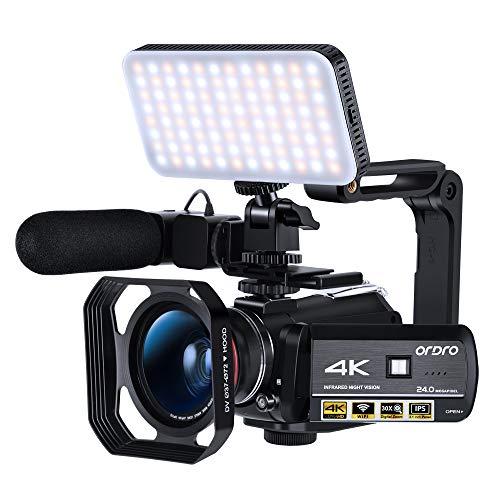 Ordro AC3 Digital Zoom Video Camera 4k Camcorder +Accessory Bundle -Black