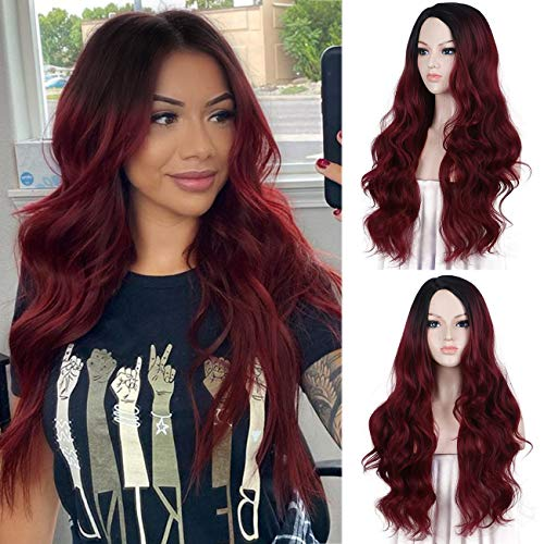 K'ryssma Ombre Burgundy Wig with Dark Roots Wine Red Synthetic 99j Wig for Cosplay 22 Inch