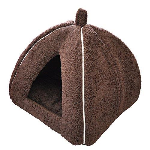 「プチリュバン」ブランドのペットベッド ペットハウス M ブラウン (ワンちゃん、イヌ、犬、ドッグ、ネコ...