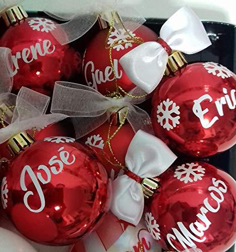 TOKPERSONAL 6 Nombres y 18 Mini Copos Adhesivos para Bolas de Navidad (Solo Incluye 6 Nombres Adhesivos y 18 Copos DE Navidad- NO Incluye Las Bolas DE Navidad) - Color Blanco