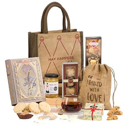 Tea Time Delights - Tea & Biscuits Hamper Gift in a Reusable Hand Bag for Her - Mother's Day Gift Idea