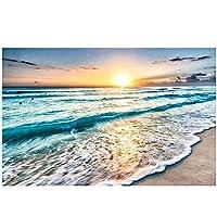 ウォールアート、モダンシンプルシーサイドサンライズビーチ海の風光明媚なキャンバス絵画油絵ポスター北欧の風景写真フレームなし
