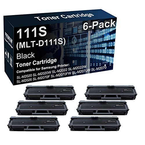 Paquete de 6 cartuchos de tóner compatibles 111S MLT-D111S de alto rendimiento para impresoras Samsung Xpress SL-M2020W SL-M2022W SL-M2060 SL-M2070FW (negro)