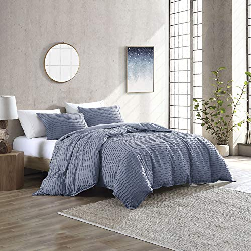 Brielle Home Mabel Solid Wavy Tufted/Textured Cotton Comforter Set, Stone Light Blue, Full/Queen