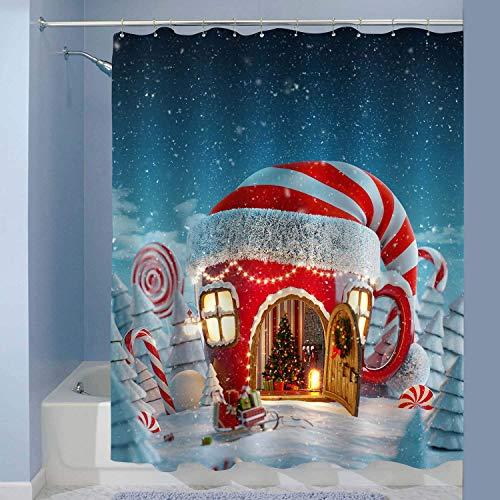Cortina de ducha del Festival de Invierno, increíble casa de la taza de té de hadas en el sombrero de los elfos decorado en bosque mágico, puerta abierta y chimenea dentro de la decoración del baño, a