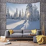 KHKJ Tapiz de Paisaje de montaña de Nieve Bosque Verde Hermoso Dormitorio decoración Tela de Fondo decoración 3D Tapiz de habitación A17 150x130cm