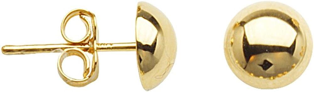 Ball Earrings, 10Kt Gold 8mm Half Ball Post Earring