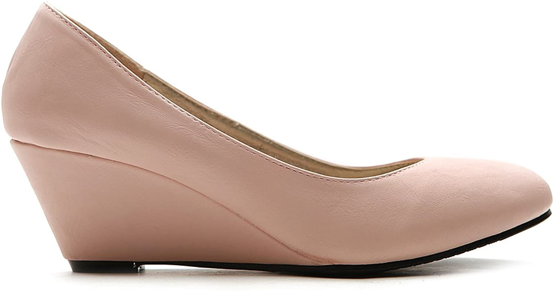 Ollio Women's Platform Medium Wedge High Heel Multi color Pump