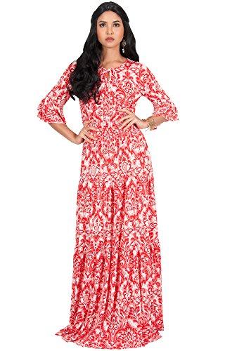 Koh Koh Damen Maxi-Kleid, langärmelig, mit Rüschen, Bedruckt - Rot - XXX-Large