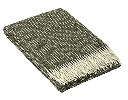 Nostra | Merino Wolldecke Merino-300 | 80prozent Merinowolle | Sofadecke| Warme & gemütliche Tagesdecke | Khaki Decke | 140x200 cm