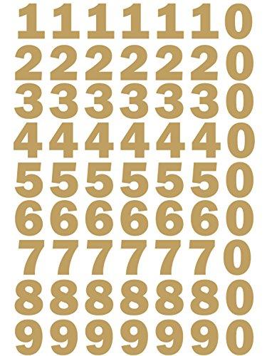 das-label Zahlen Design NO.3 (klein) | Gold Vinyl matt | Selbstklebende gestanzte Zahlen | zum Basteln Scrapbook | Sticker | Aufkleber | zum Beschriften