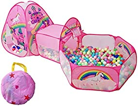 TTLOJ 3pc Rainbow Castle Kids Play Tents Crawl Tunnels and Ball Pit with Basketball Hoop Pink Playhouse Tent for Girls Boys for Outdoor and Indoor, Lightweight, Easy to Setup (Balls Not Included)
