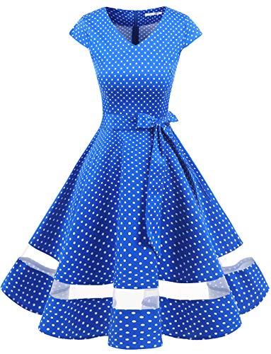 Donne 1950 Audrey Hepbun Vintage con di Polka Dots Cocktail Vestito Ocean Blue Small White DOT S