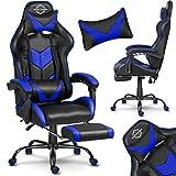 Gaming Stuhl Racing Stuhl Bürostuhl Chefsessel Schreibtischstuhl Sportsitz mit Kopfstütze und Lendenkissen, mit Fußstütze, Kunstleder, höhenverstellbar Cerber Sofotel (schwarz-blau)