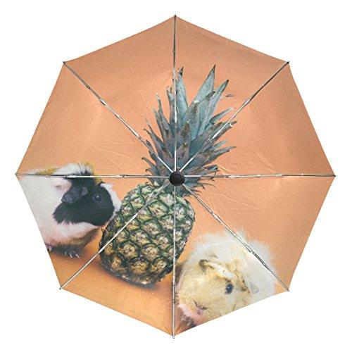 Mejalkrae Umbrella Pineapple and Hamster Tri-fold Umbrellas Windproof, Ergonomic Handle, Reinforced Canopy, Auto Open/Close Multiple Colors