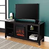 Walker Edison Wren Classic 4 Cubby Fireplace TV Stand for TVs up to 65 Inches, 58 Inch, Black