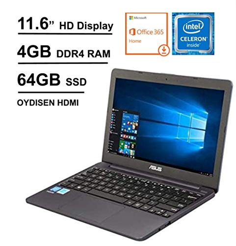 "2020 Newest ASUS Laptop L203MA Thin and Light Laptop, 11.6"" HD Display, Intel Celeron N4000 Processor, 4GB RAM, 64GB Storage, Webcam, Oydisen HDMI, Windows 10 S, Microsoft 365 (Google Classroom Ready)"