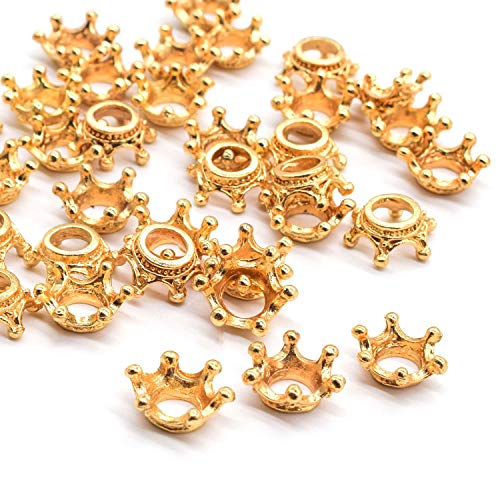 AUEAR 100 Pcs 3D Mini Lovely Crown Charms Findings Vintage Alloy Pendants for Jewelry Making DIY Crafting Gold