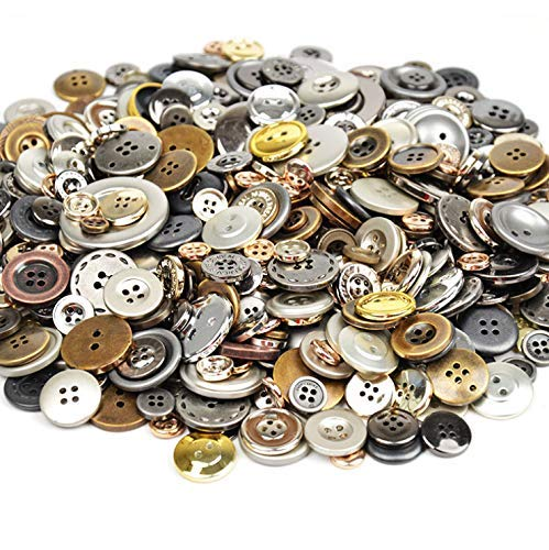 Esoca 650Pcs Gold and Silver Buttons for Crafts Plastic Gold Buttons Assorted Silver Buttons for Art, DIY Crafts, Christmas Decoration (Metal Color)