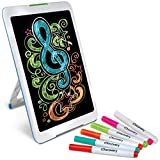 Discovery Kids Neon Glow Drawing Easel w/Color Markers, Built-in Kickstand/Wall Mount, Choose from 6 Light Modes, Easy to Clean/Washable, Wide Screen, Flat Storage, Great for Children, Multicolor