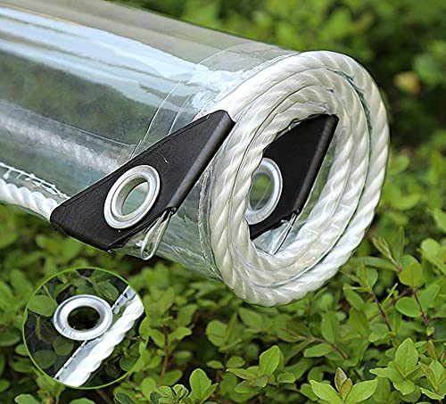 SJQ Waterproof clear PVC tarpaulin, clear rain tarpaulin, garden tarpaulin, for plants Roof barrier with pet box Reinforced, with eyelets (0.35mm / 365g / ㎡)