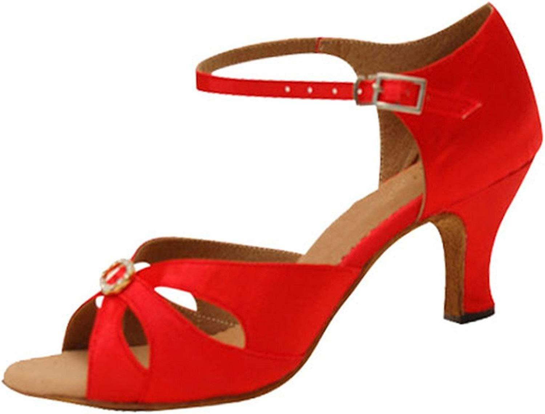 Frauen rot Latein Tanzschuhe,Leise Unten Satin High Heel Salsa Dancing Schuhe Tango Soziale Tanzschuhe