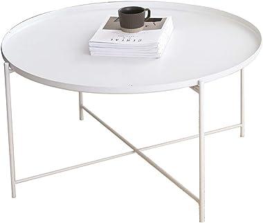QULONG Moderne Minimaliste Métal Table Basse, Ronde Créative Salon Side, Table Étanche Résistant À La Rouille Extérieure Snac