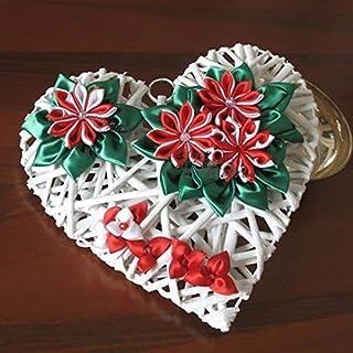 Cuore Cuori Ghirlanda per allestimenti wedding e Natale con fiori Kanzashi rossi e bianchi in raso