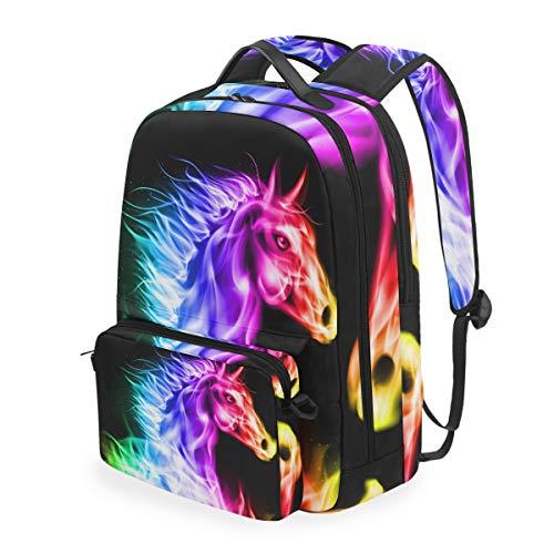 Cpyang, zaino per la scuola, motivo: cavallo arcobaleno, con tracolla staccabile, borsa da viaggio per computer portatile, per ragazzi, donne e uomini