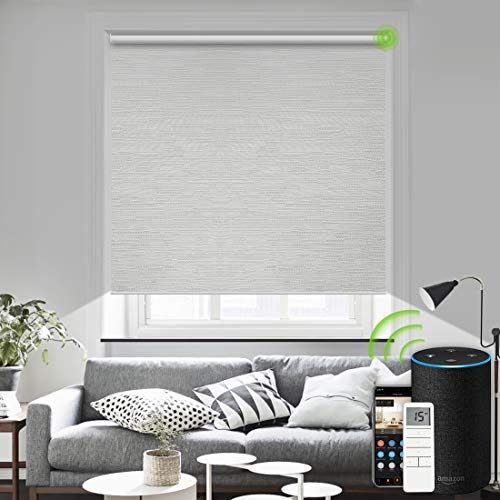 Yoolax Motorized Blind Shade for Window with Remote Control Smart Blind Shade Compatible with Alexa Motorized Roller Shade Blackout Battery Solar powered blind Custom up 98''W X 138''H(Jacquard White)
