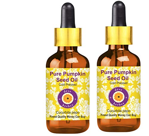 Deve Herbes Pure Pumpkin Seed Oil (Cucurbita Pepo) with Glass Dropper 100% Natural Therapeutic Grade Cold Pressed for Personal Care (Pack of Two)100ml X 2 (6.76 oz)