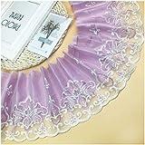 GAOJIAN Puntillas para Manualidades Falda de Mesa Ancha con Costura de Cortina Borde Accesorios de decoración de Encaje de Estilo Europeo Lace Purple 6m