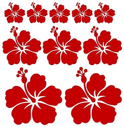 Beschriftungsspezi Autoaufkleber oder Wandtattoo Hibiskus Blumen Set mit 10 Blumen (Rot Glanz)