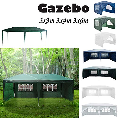 AutoBaBa 3M x 6M Gazebo Tent Marquee Canopy Powder Coated Steel Frame for Outdoor Wedding Garden Party Camping, with Side Panels, Waterproof, Green