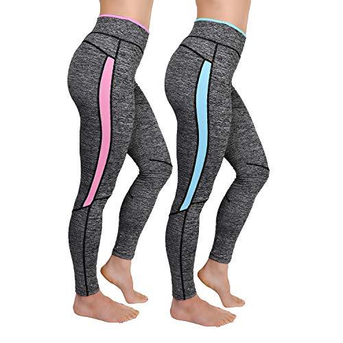 L&K-II 2er Pack Damen Laufhose Training Leggings Strech Fitness Sporthose 4113 Neonpink+Neonblau L/XL