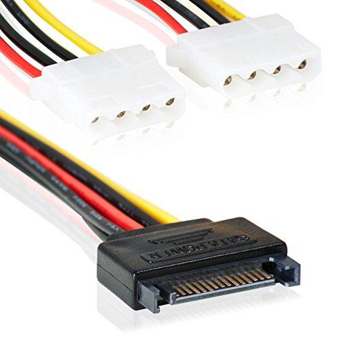 SATA 15pin zu 2X 4 Pin MOLEX IDE | Y-Adapter Stromanschluss | 15cm | Splitter | Power 15-pin-2x 4-pin/Bu –MOVOJA