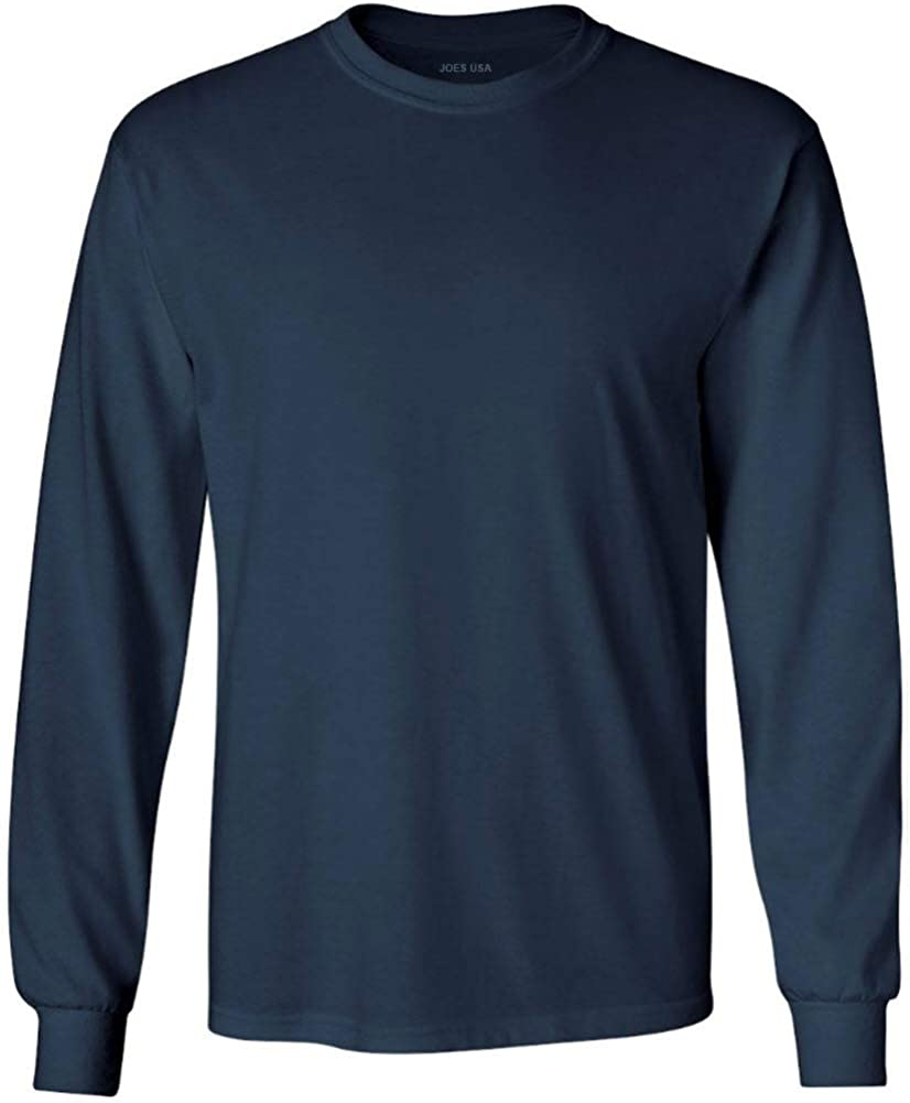 Joe's USA Men's Long Sleeve Heavyweight Cotton T-Shirts in Regular, Big & Tall