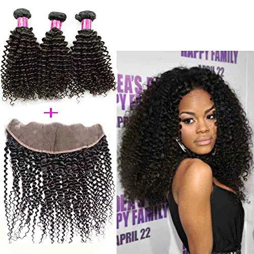 Queengirl Vierge Brésilienne Kinky Cheveux Bouclés 3 Bundles Avec Dentelle Frontale Brut Cheveux Humains Tissage Trame 13x4 Fermeture 14 16 18inch+frontal 10\