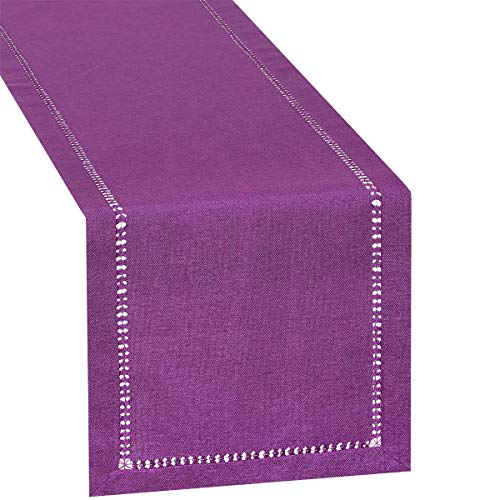 Grelucgo Hemstitch Purple Table Runner Or Dresser Scarf, Solid Color, Weddings, Halloween, Easter and Everyday Use (14 x 72 Inch)